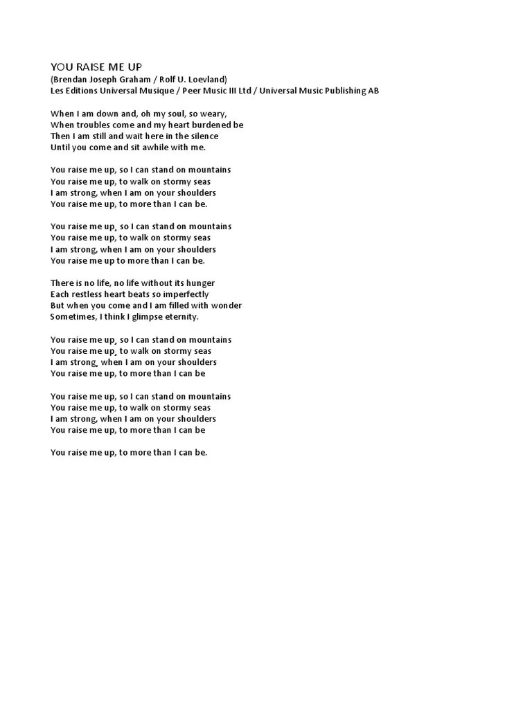 Lirik You Raise Me Up : lirik, raise, LYRICS, RAISE, UP.pdf