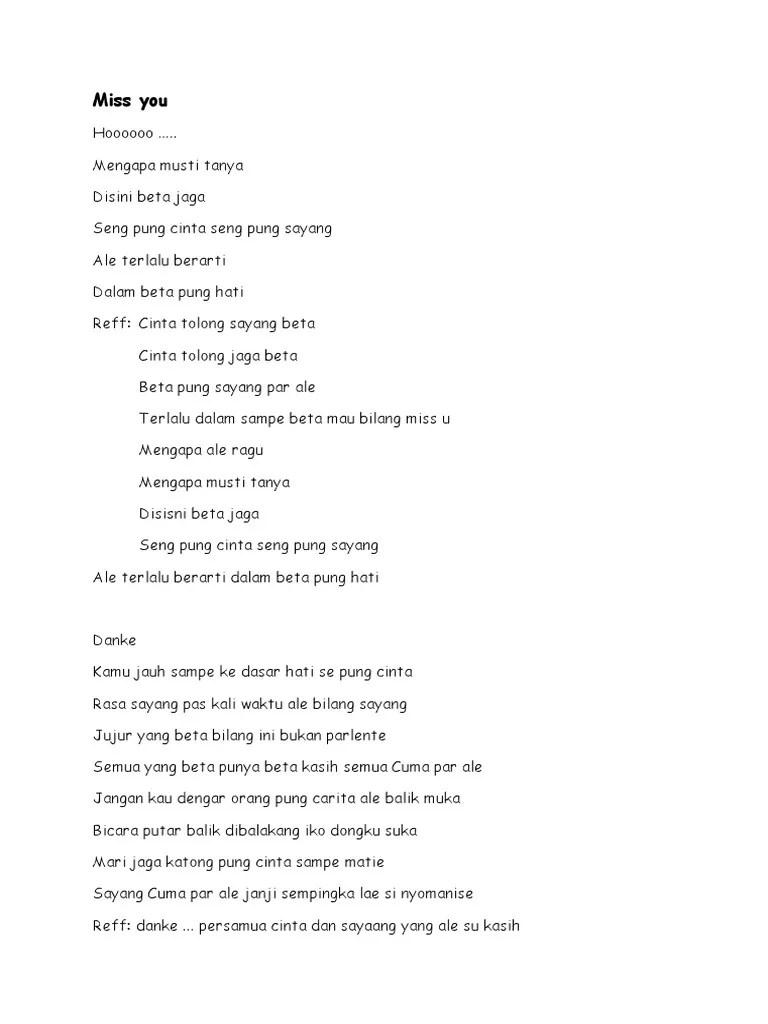 Bahasa Ambon Sayang : bahasa, ambon, sayang, Kumpulan, Lirik, Ambon