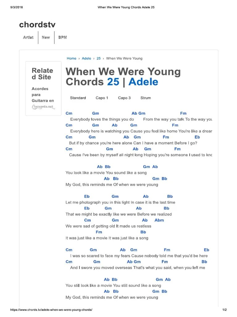 When We Were Young Adele Chords : young, adele, chords, Young, Chords, Adele