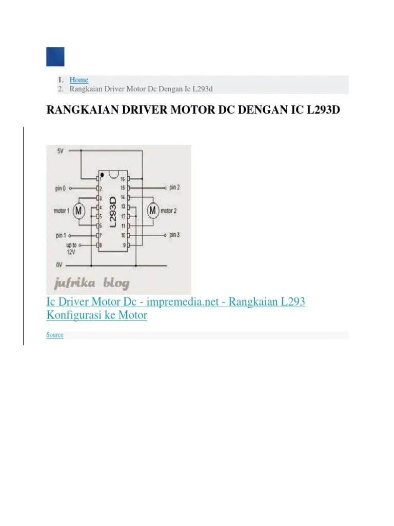 Rangkaian Driver Motor L293d : rangkaian, driver, motor, l293d