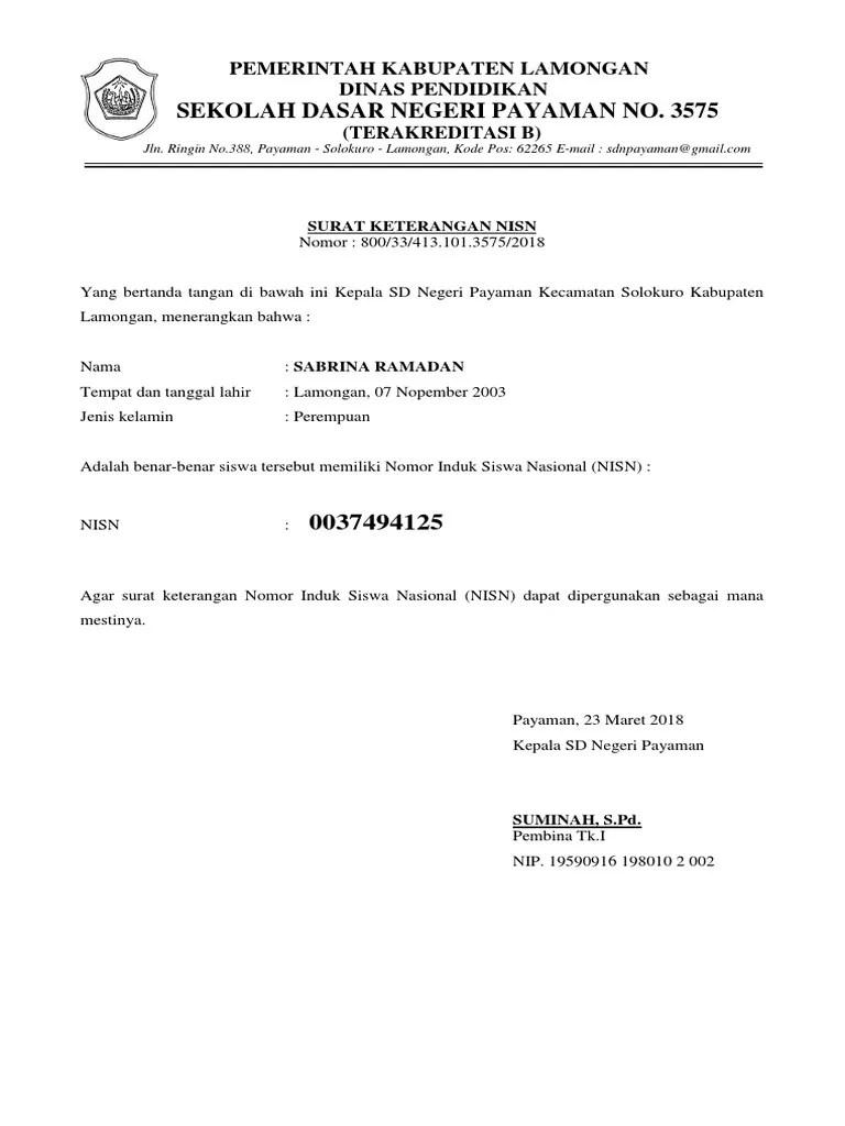 Surat Keterangan Nisn : surat, keterangan, Surat, Keterangan