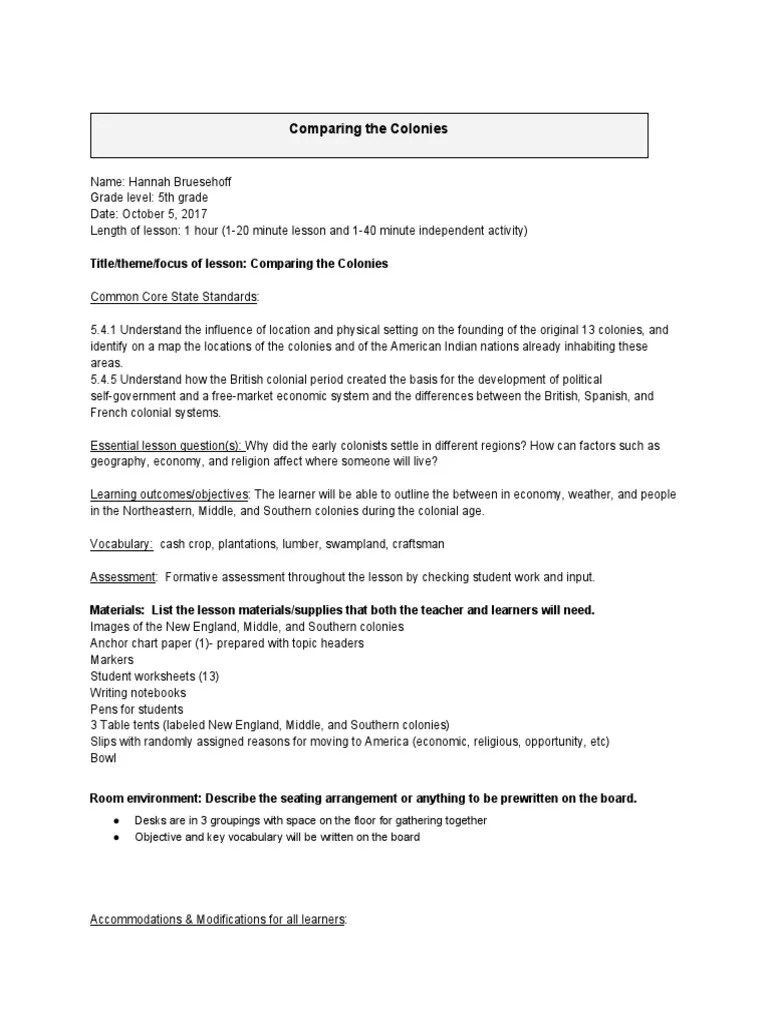 small resolution of comparing the colonies lesson plan   Reading (Process)   Reading  Comprehension