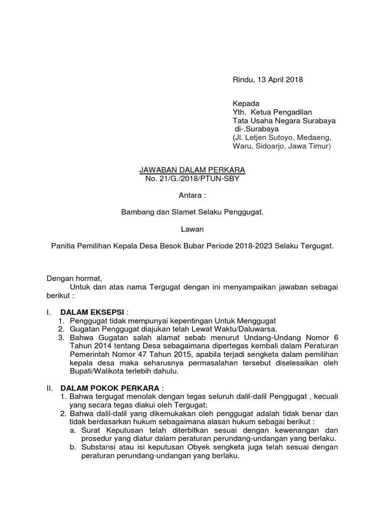 Contoh Surat Eksepsi Dalam Ptun Contoh Surat Cute766