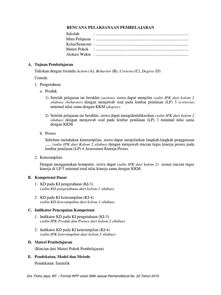 Contoh Rpp Permendikbud No 22 Tahun 2016 Pdf : contoh, permendikbud, tahun, Format, (Permendikbud, Tahun, 2016)