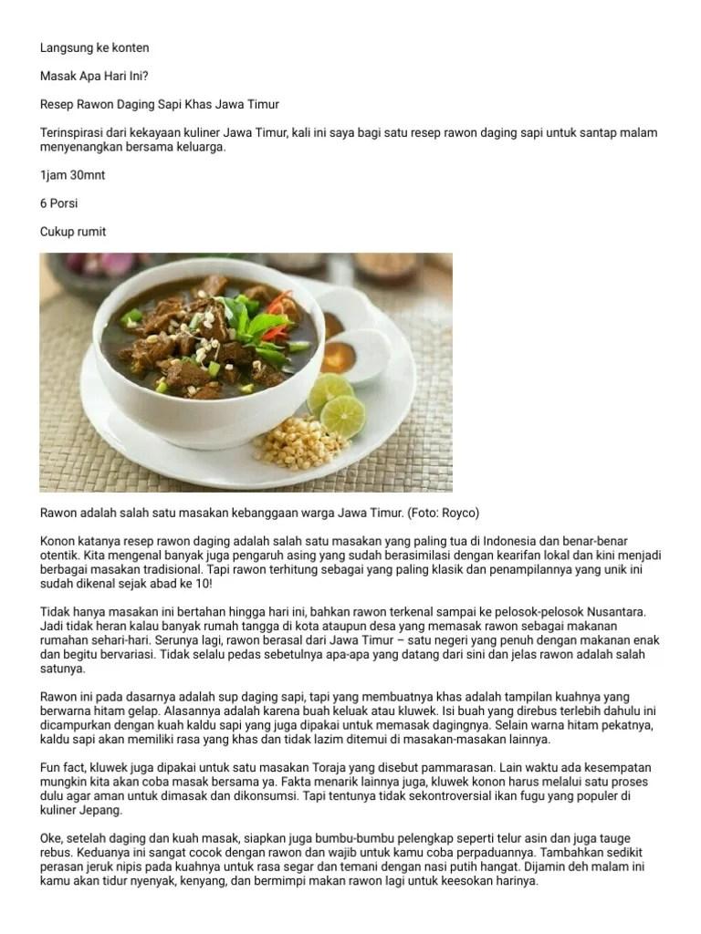 Bumbu Rawon Daging Sapi : bumbu, rawon, daging, Resep, Rawon, Daging, Timur.pdf