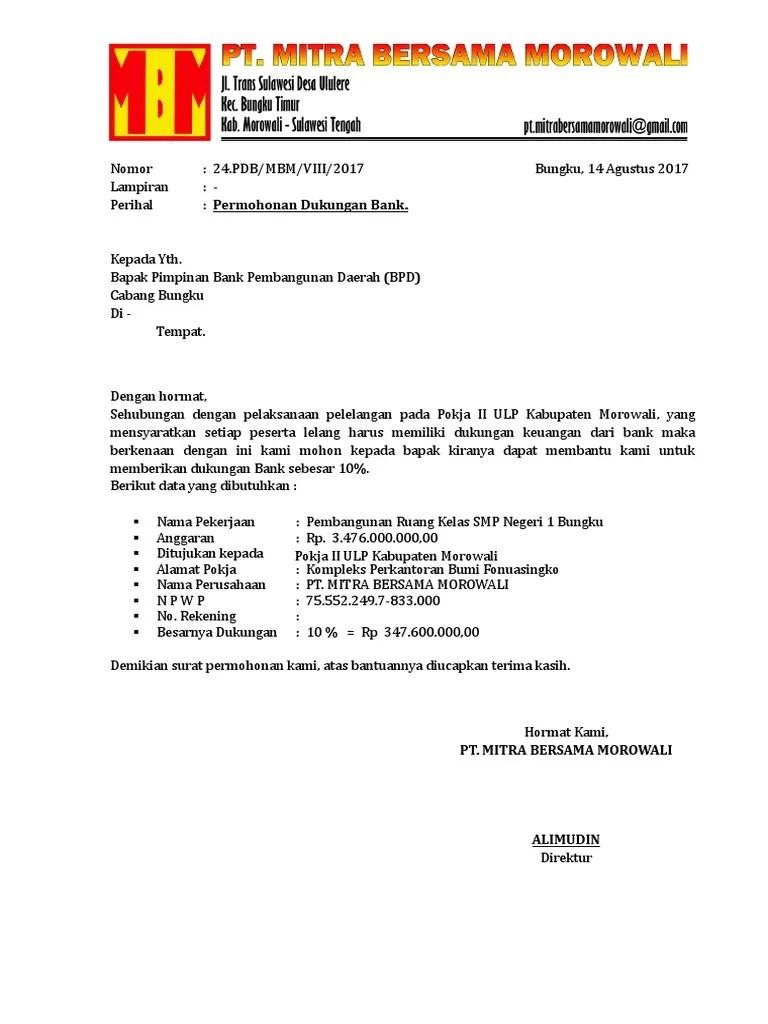 Surat Dukungan Bank : surat, dukungan, Contoh, Surat, Dukungan, Untuk, Lelang, ID.Lif.co.id