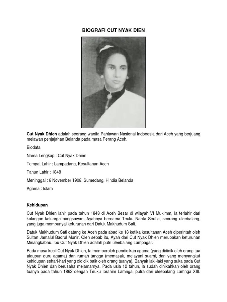 Biografi Pahlawan Cut Nyak Dien : biografi, pahlawan, Biografi