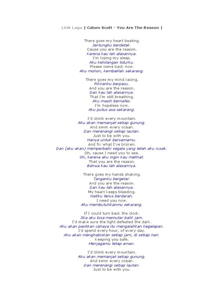 Lirik You Are The Reason Dan Terjemahan : lirik, reason, terjemahan, Lirik, Reason