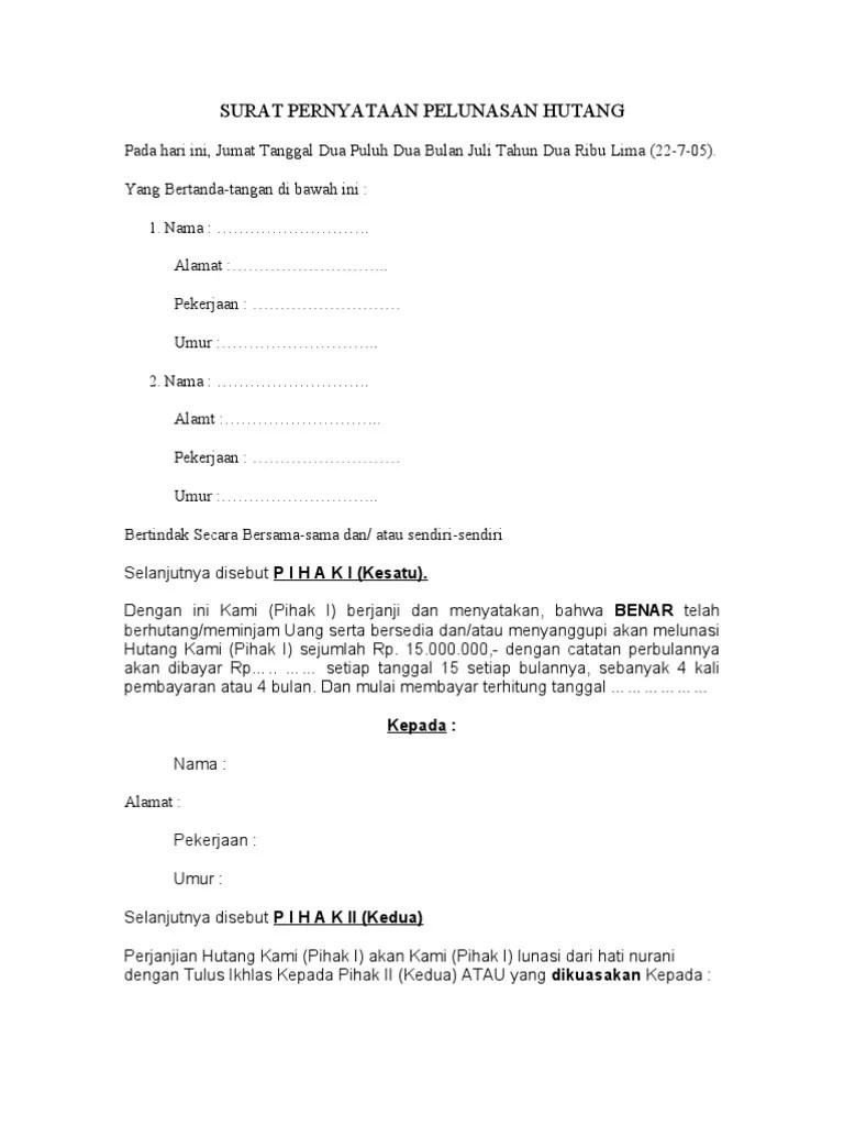 Contoh Surat Pernyataan Hutang : contoh, surat, pernyataan, hutang, Surat, Pernyataan, Pelunasan, Hutang