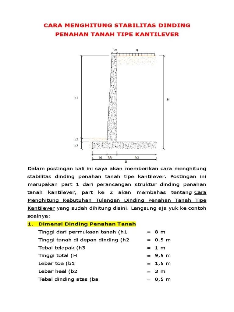 Perhitungan Dinding Penahan Tanah Dengan Excel : perhitungan, dinding, penahan, tanah, dengan, excel, Contoh, Perhitungan, Struktur, Dinding, Penahan, Tanah