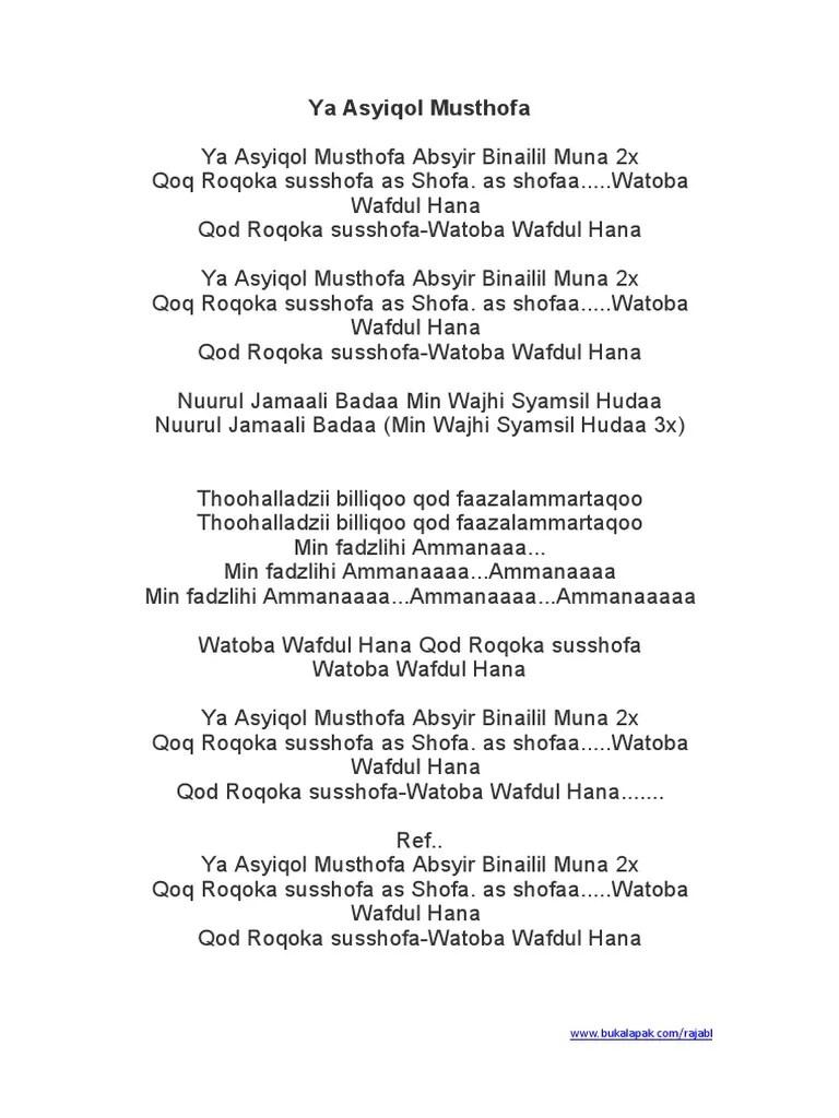 Lirik Ya Asyiqol Sabyan : lirik, asyiqol, sabyan, Asyiqol, Musthofa