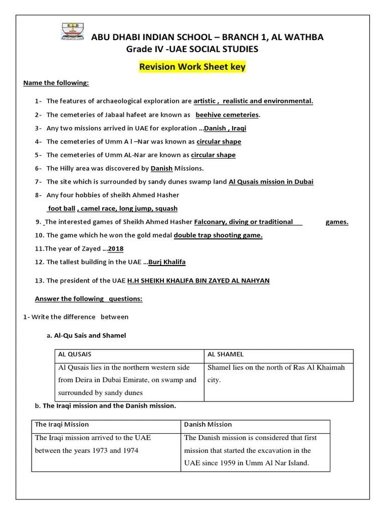hight resolution of 4 Usst Worksheet -2 Key   United Arab Emirates   Arabian Peninsula