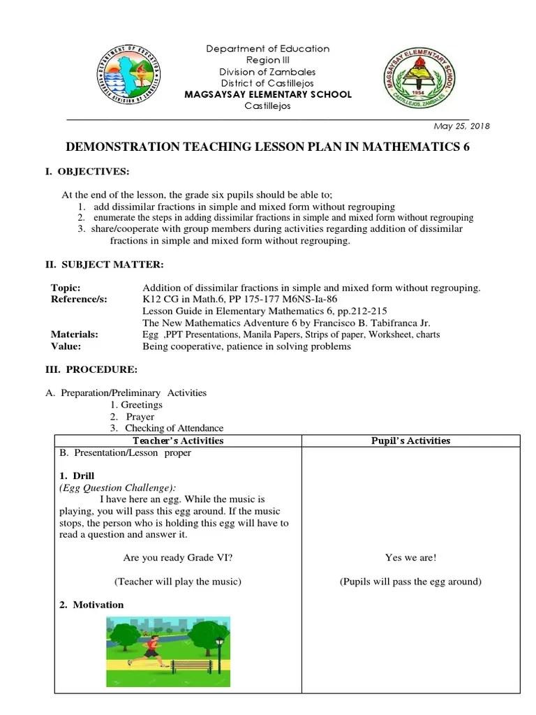medium resolution of Demo Lesson Plan Math 6 Primals   Fraction (Mathematics)   Behavior  Modification