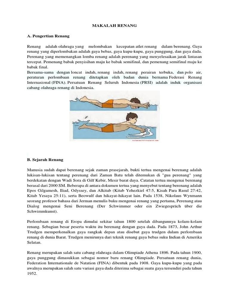 Sejarah Olahraga Renang di Indonesia dan Dunia Lengkap