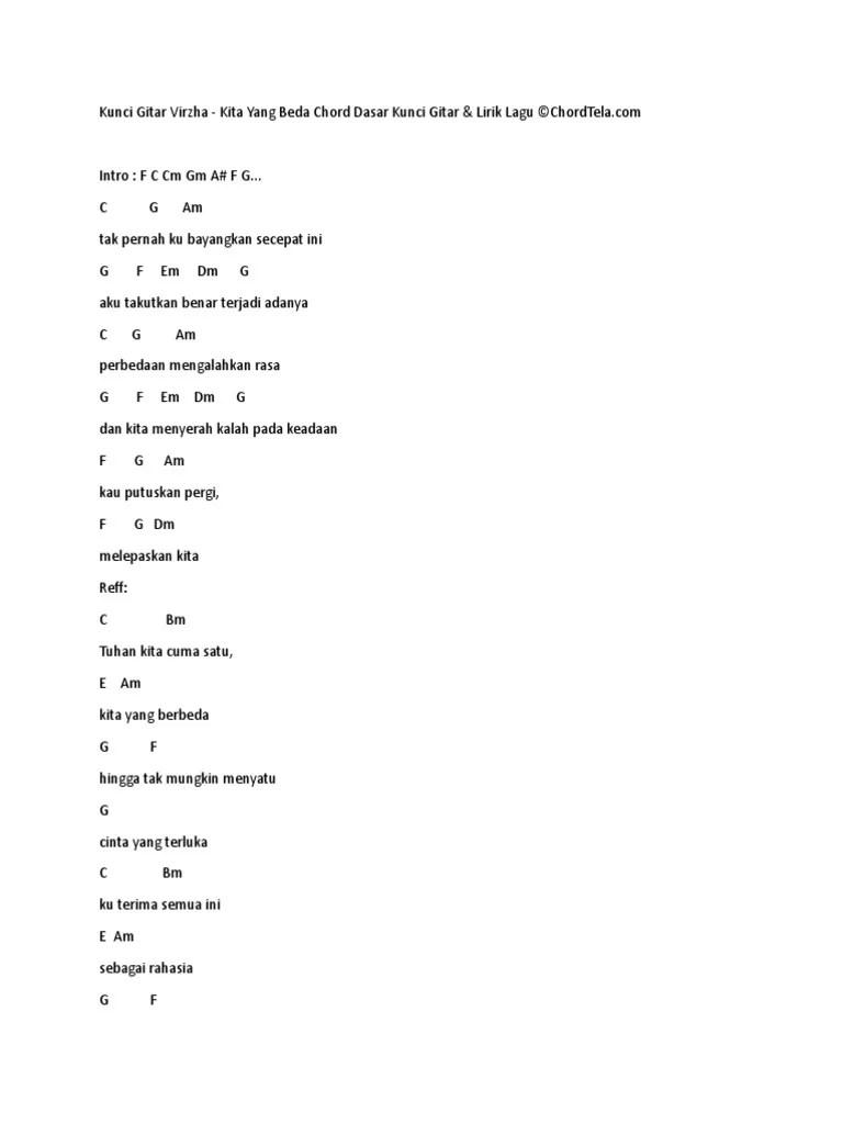 Lirik Lagu Kita Yg Beda : lirik, Chord, Gitar, Virzha, Membedakan