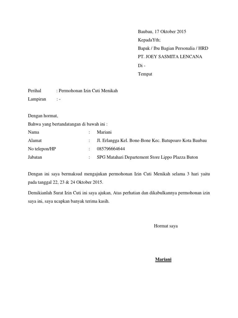 Contoh Surat Izin Cuti : contoh, surat, Surat, Permohonan, Menikah, Courses
