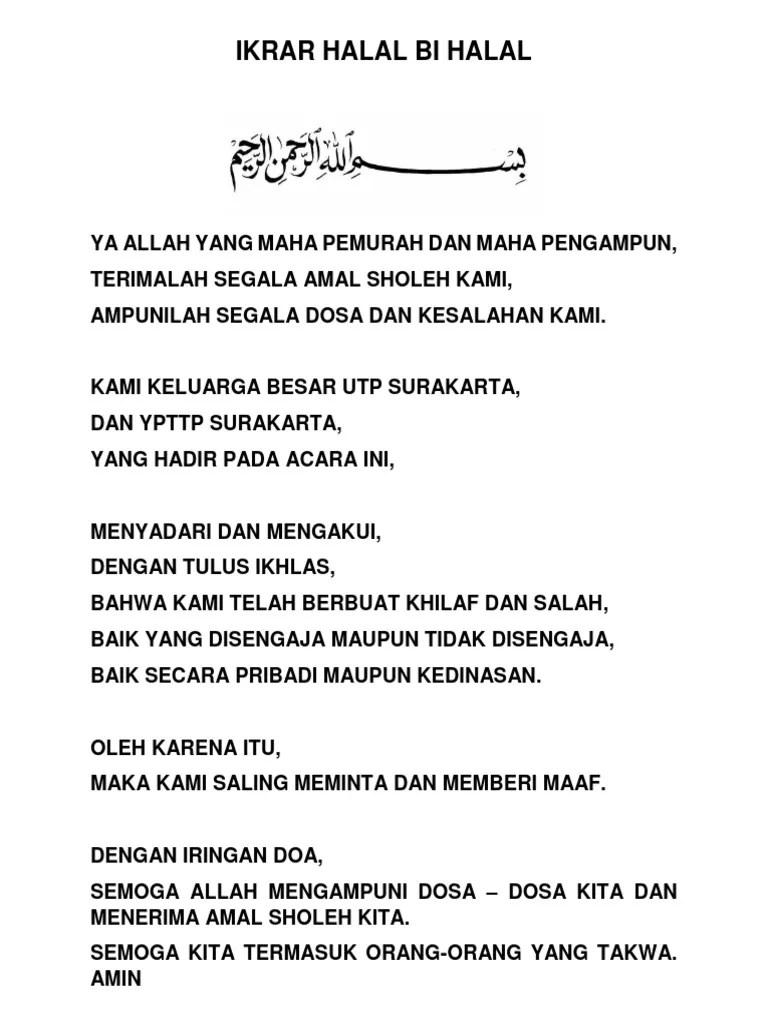 Ikrar Syawalan Bahasa Jawa : ikrar, syawalan, bahasa, Ikrar, Halal, Bihalal