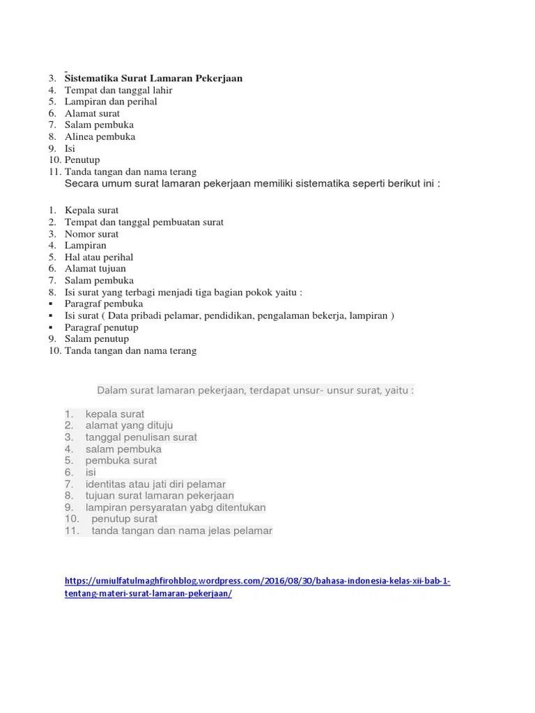 Sistematika Surat Lamaran Kerja : sistematika, surat, lamaran, kerja, Sistematika, Surat, Lamaran, Pekerjaan