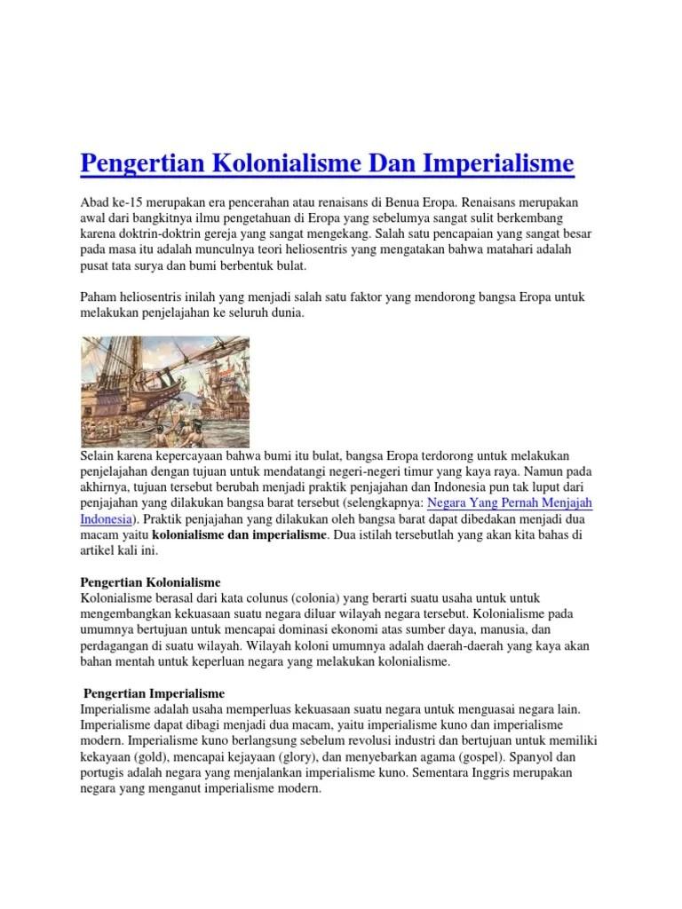 Pengertian Kolonialisme & Imperialisme.docx - Kolonialisme