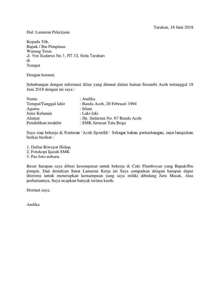 Contoh Surat Lamaran Kerja Restoran Berbagai Contoh Materi Cute766