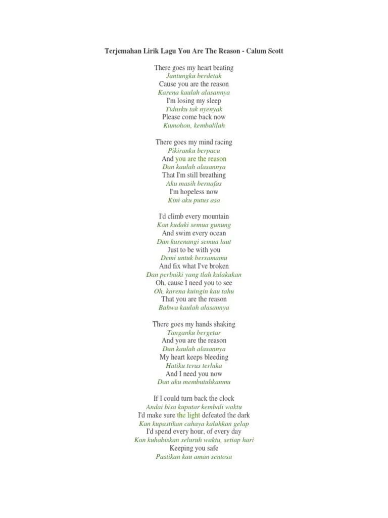 Lirik Lagu You Are The Reason Beserta Artinya : lirik, reason, beserta, artinya, Calum, Scott, Lirik, Terjemahan, Songs