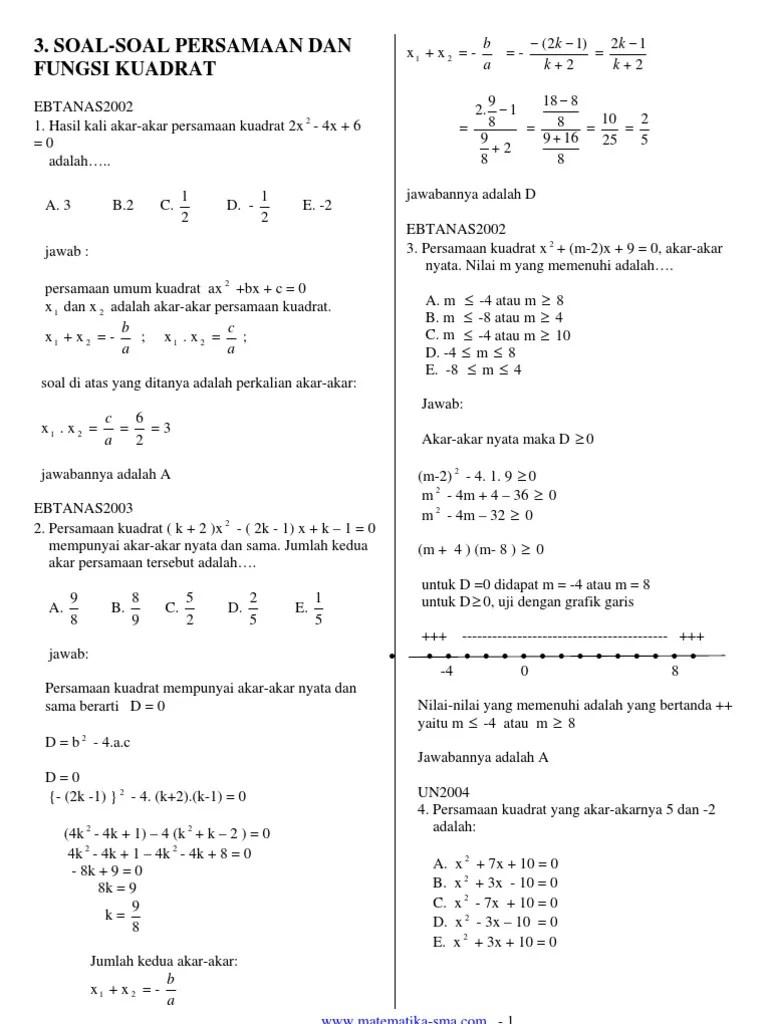 Soal-soal Persamaan Kuadrat : soal-soal, persamaan, kuadrat, Kumpulan, Persamaan, Kuadrat, Kelas, Kurikulum
