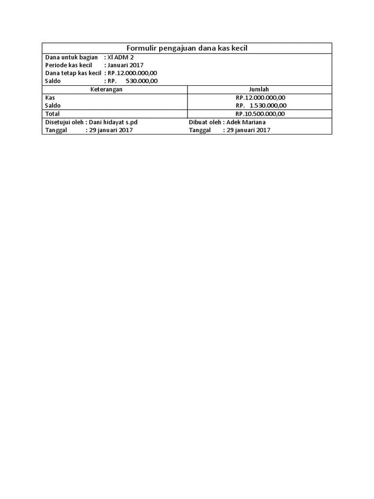 Formulir Pengajuan Dana Kas Kecil : formulir, pengajuan, kecil, Formulir, Pengajuan, Kecil