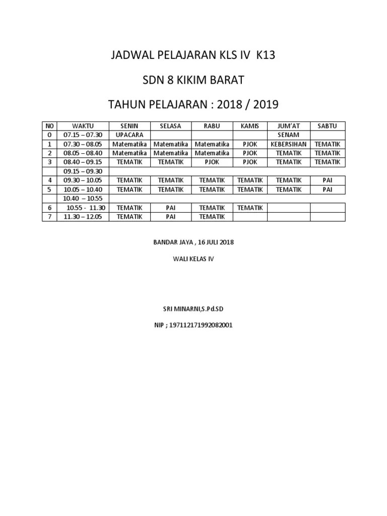 Jadwal Pelajaran K13 Kelas 4 : jadwal, pelajaran, kelas, Jadwal, Pelajaran