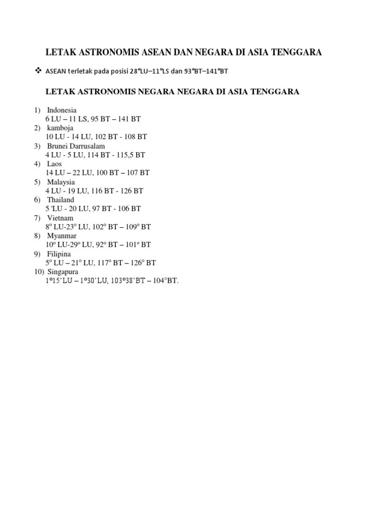 Letak Astronomis Asean : letak, astronomis, asean, Letak, Astronomis, Asean, Negara, Tenggara