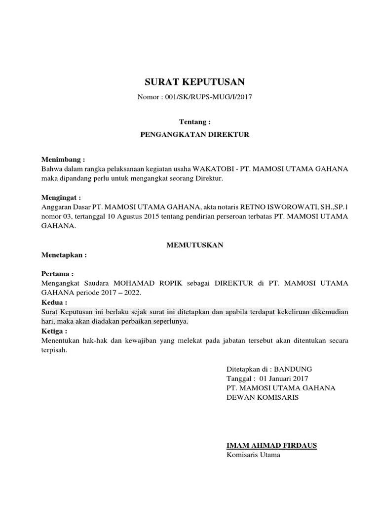Contoh Surat Keputusan Pengangkatan Jabatan : contoh, surat, keputusan, pengangkatan, jabatan, Pengangkatan, Direktur, Cute766