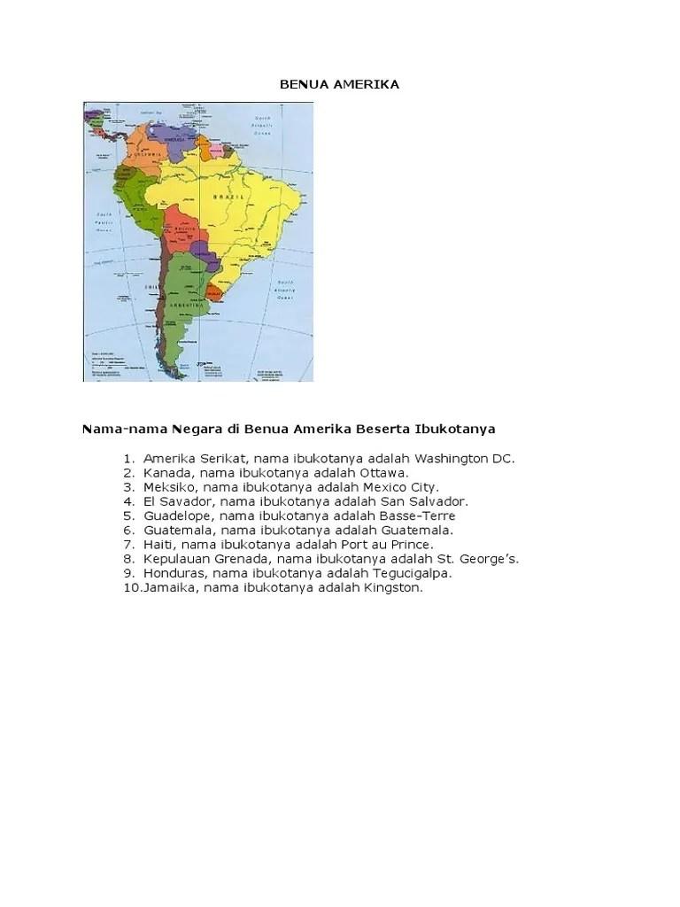 Negara Di Benua Amerika Beserta Ibukotanya : negara, benua, amerika, beserta, ibukotanya, Benua, Amerika