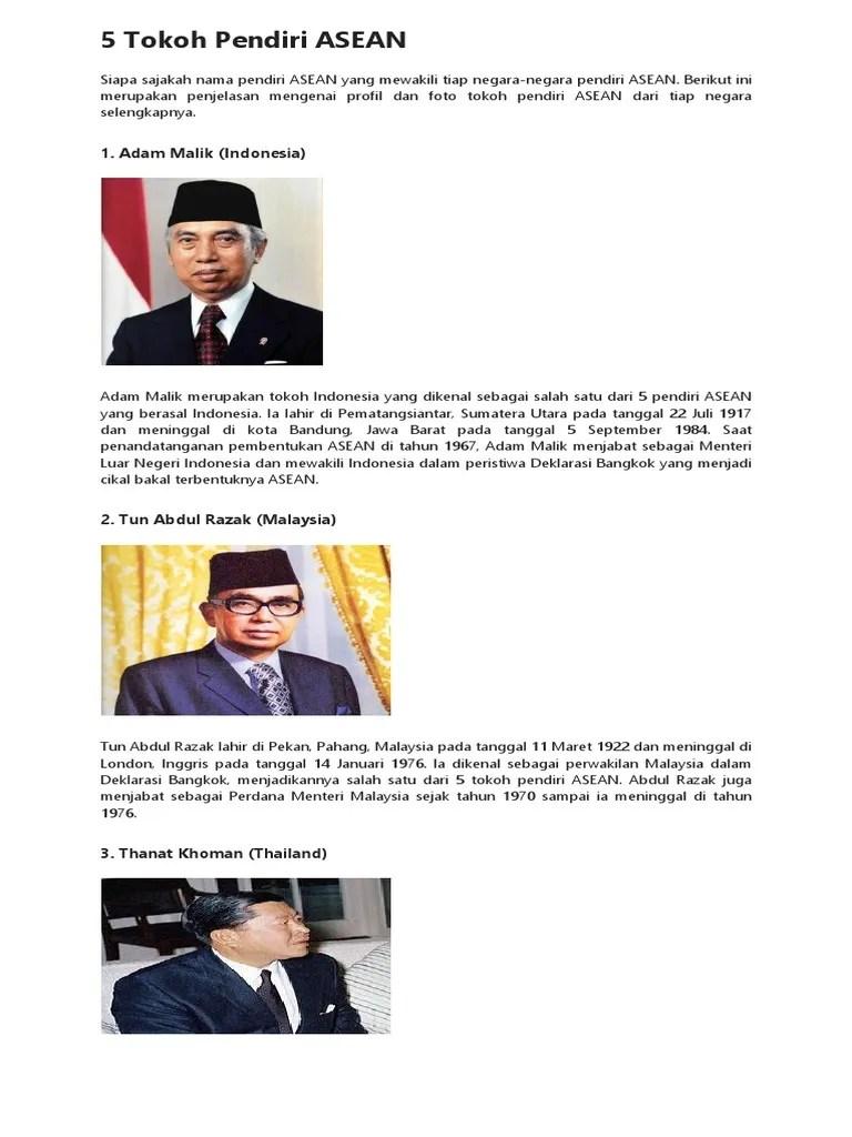 Pelopor Pendiri Asean : pelopor, pendiri, asean, Tokoh, Pendiri, ASEAN