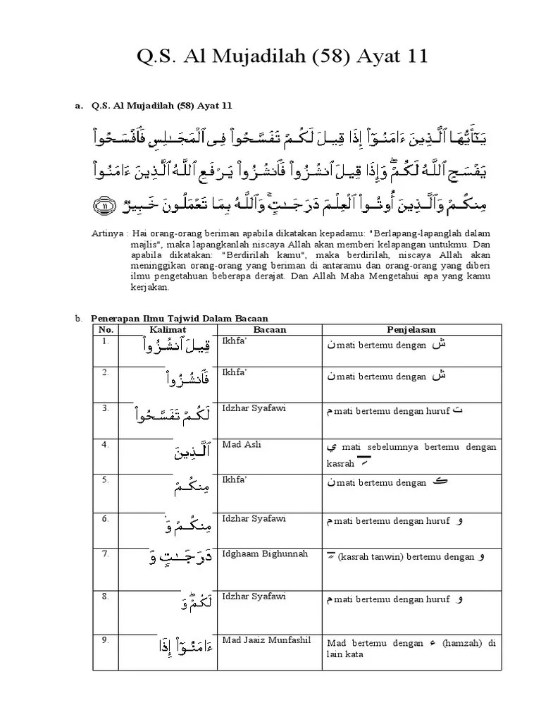 Al-mujadilah Ayat 11 : al-mujadilah, Mujaadilah