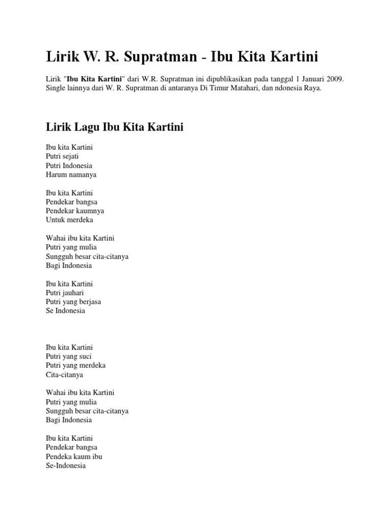 Lirik Ibu Kartini : lirik, kartini, Lirik