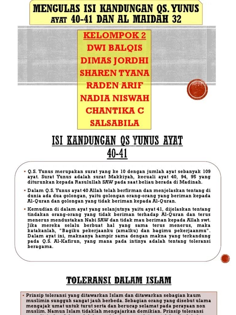 Isi Kandungan Surat Al Maidah Ayat 32 : kandungan, surat, maidah, Kandungan, Surah, Yunus, Maidah