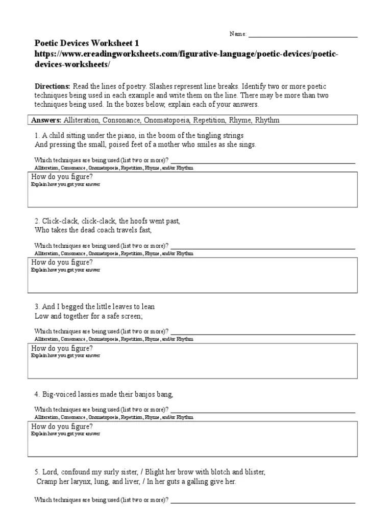 Poetic Devices Worksheet 01   Rhyme   Poetry [ 1024 x 768 Pixel ]
