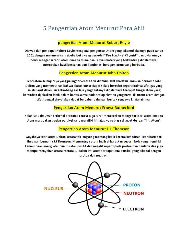 Teori Model Atom Menurut Para Ahli Beserta Kelebihan dan