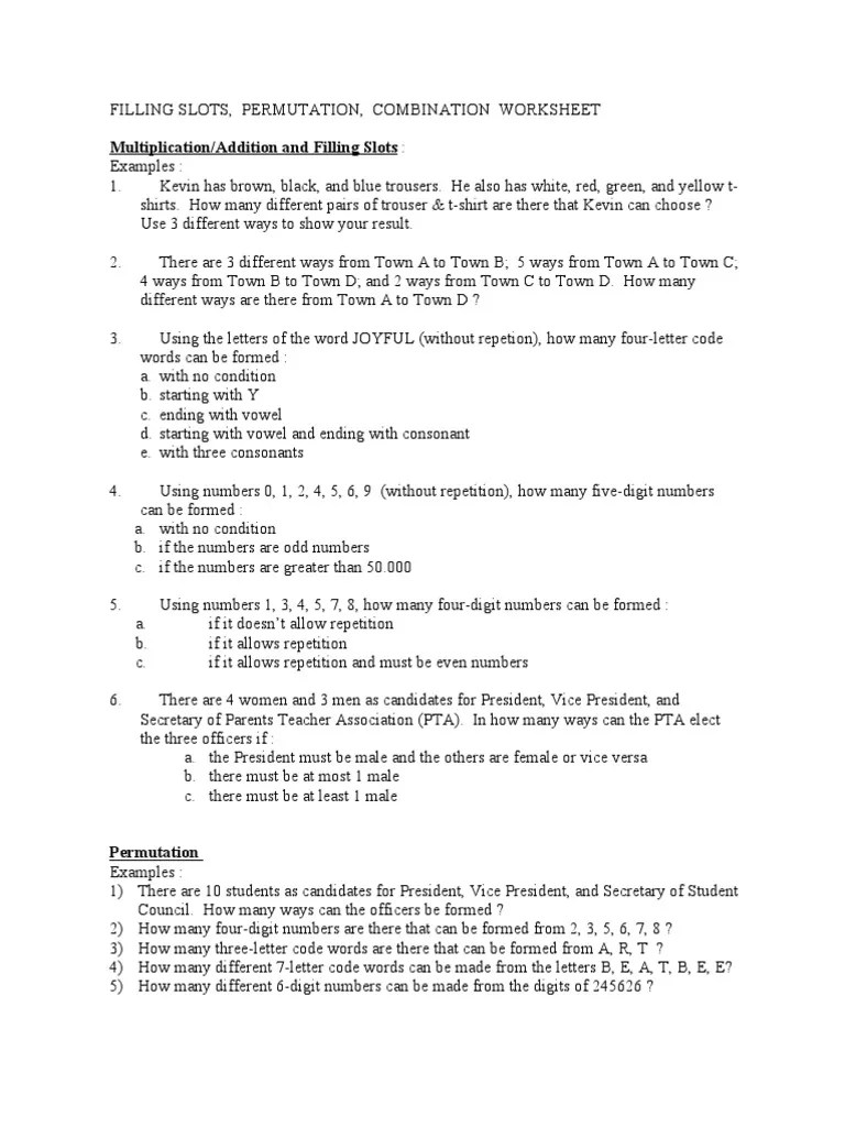 Combinatorics Worksheet   Playing Cards   Gaming Devices [ 1024 x 768 Pixel ]