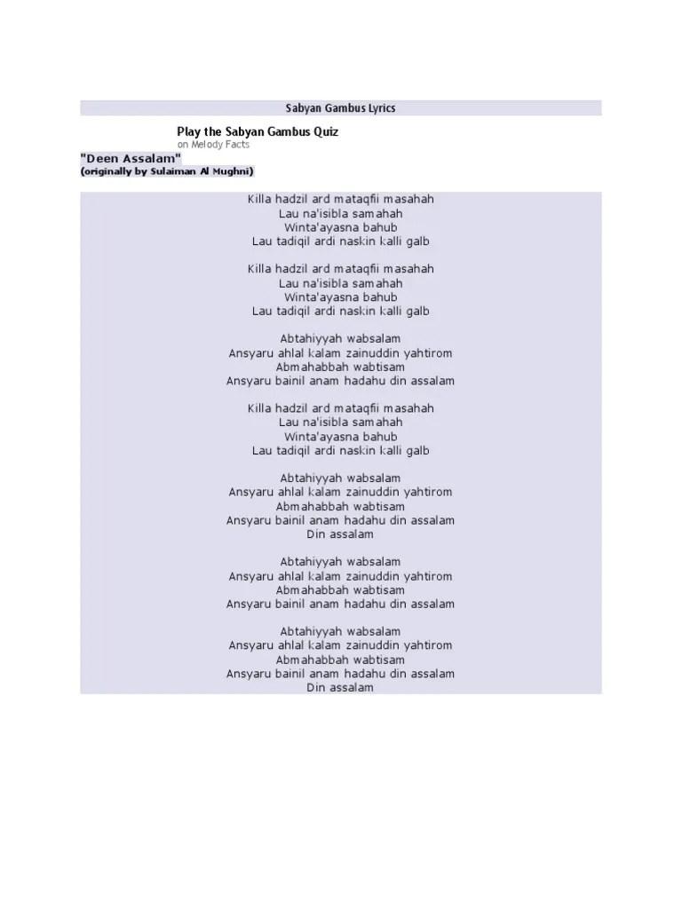 Lirik Deen Assalam Bahasa Arab : lirik, assalam, bahasa, Lirik, Assalam
