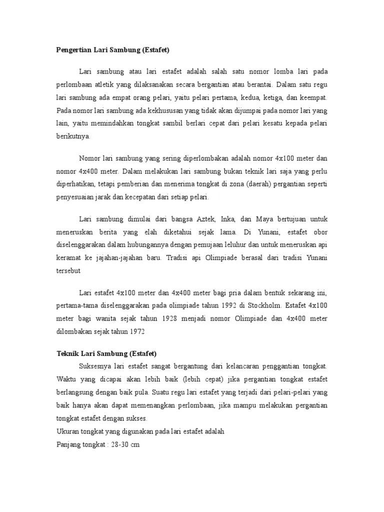 Panjang Tongkat Lari Estafet : panjang, tongkat, estafet, Estafet, Meter