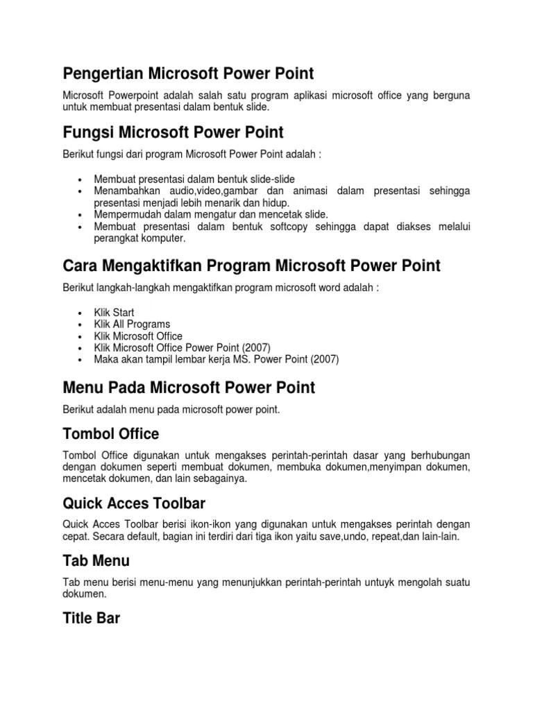 Fungsi Menu Dan Ikon Pada Microsoft Powerpoint 2007 : fungsi, microsoft, powerpoint, Pengertian, Microsoft, Power, Point