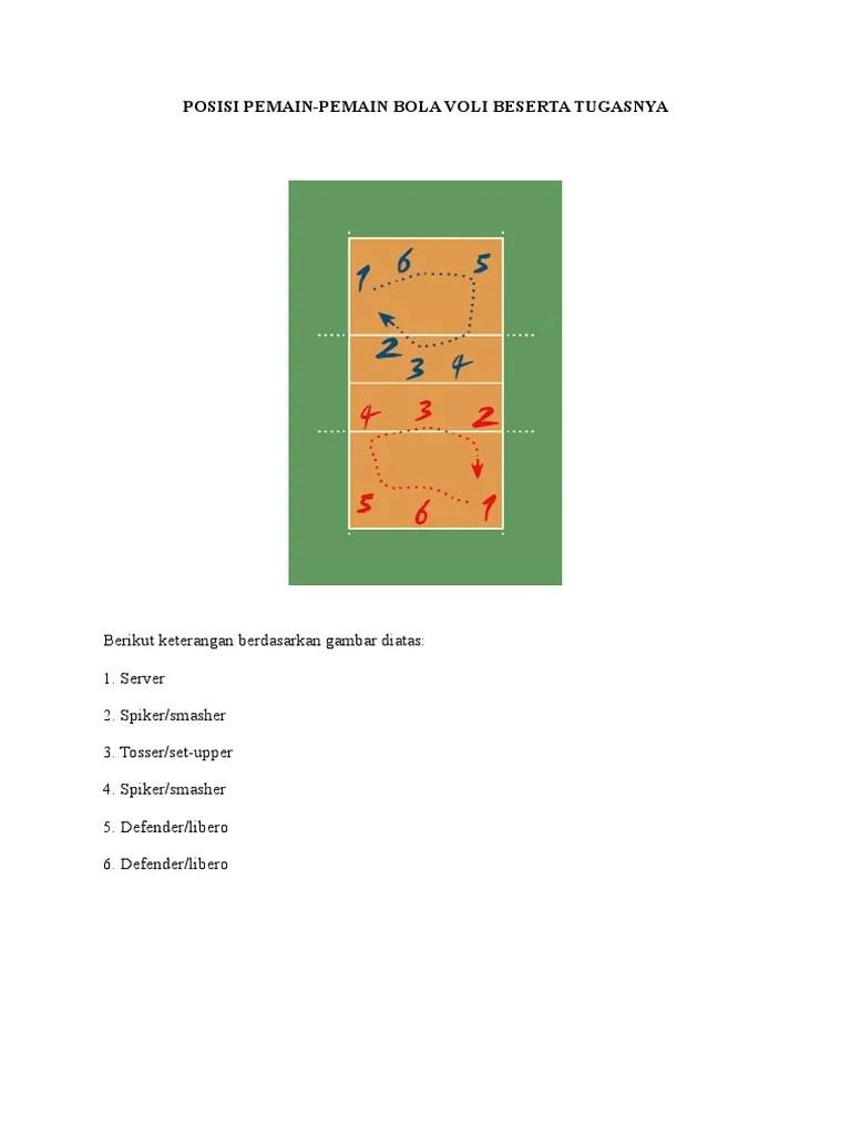 Pemain Bola Voli Dan Tugasnya : pemain, tugasnya, Posisi, Pemain