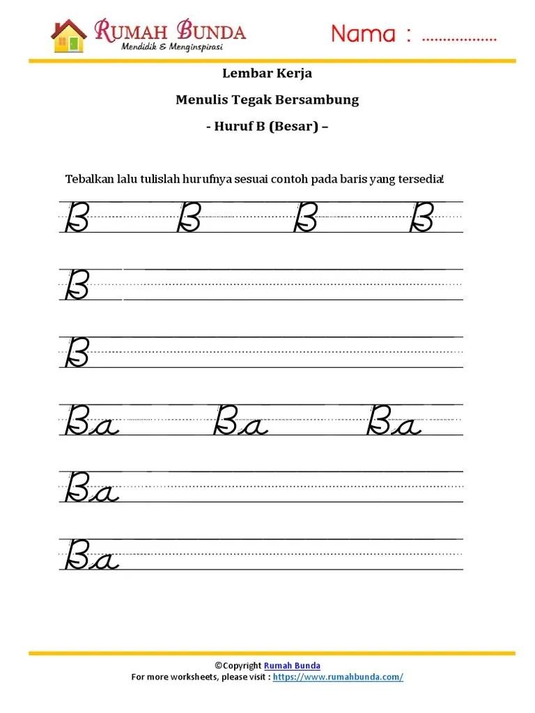 Worksheet Menulis Tegak Bersambung : worksheet, menulis, tegak, bersambung, 32.-Menulis-Tegak-Bersambung-B