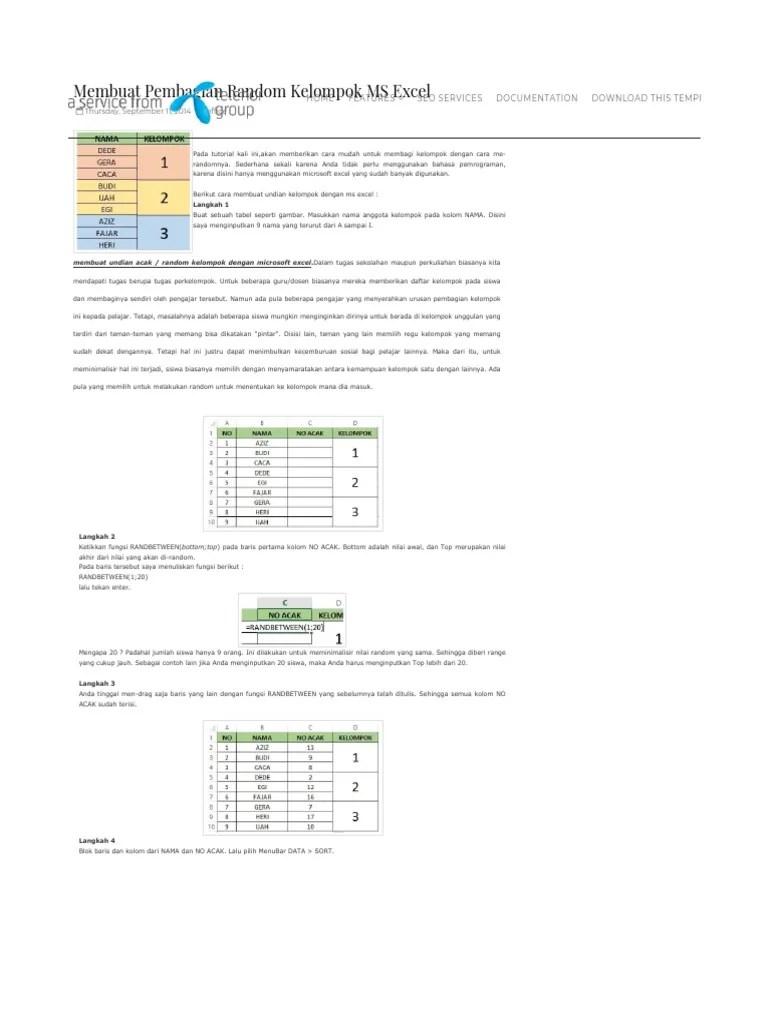 Cara Membuat Aplikasi Undian Dengan Excel : membuat, aplikasi, undian, dengan, excel, Teknik, Pembagian, Kelompok, Menggunakan, EXCEL