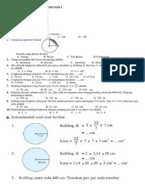 Contoh Soal Luas Lingkaran Dan Jawabannya Kelas 6 : contoh, lingkaran, jawabannya, kelas, Matematika, Kelas, Semester, Lingkaran