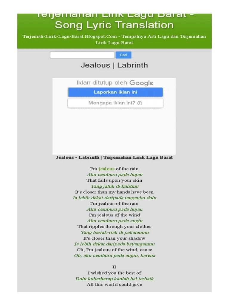 Lirik Dan Terjemahan Jealous Labrinth : lirik, terjemahan, jealous, labrinth, Lirik, Terjemahan, Jealous, Dalam