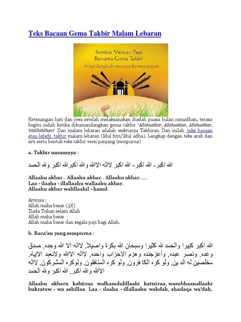 Teks Takbiran Idul Adha : takbiran, Takbiran.docx
