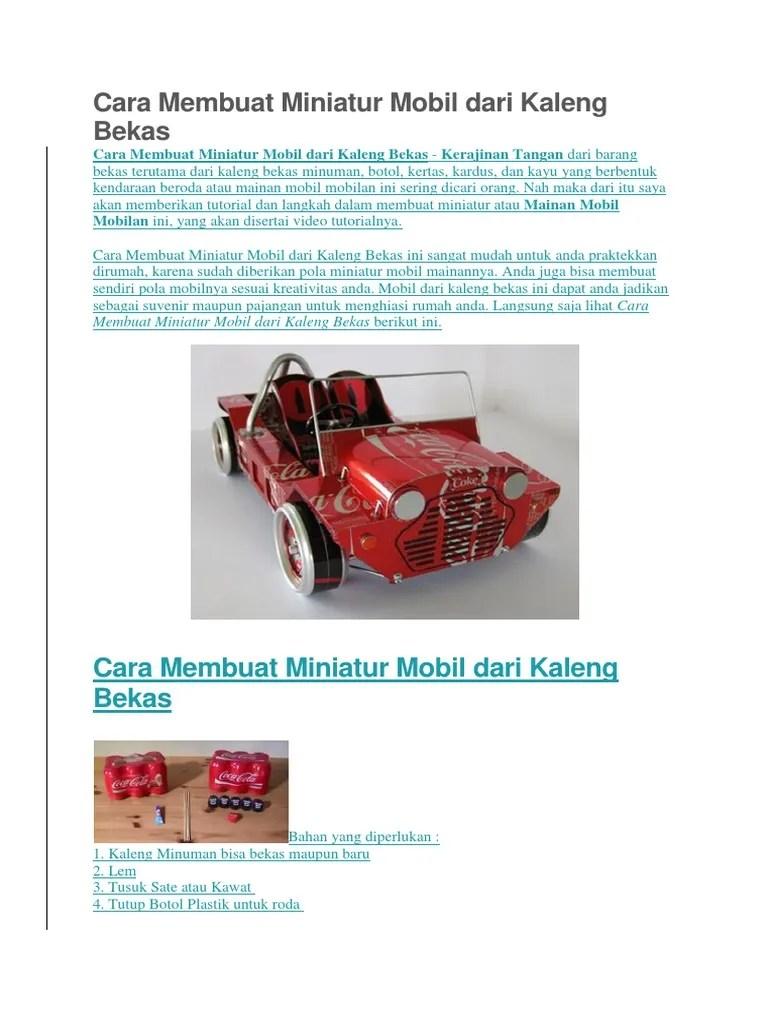 Mainan Beroda Dari Barang Bekas : mainan, beroda, barang, bekas, Membuat, Miniatur, Mobil, Kaleng, Bekas.docx