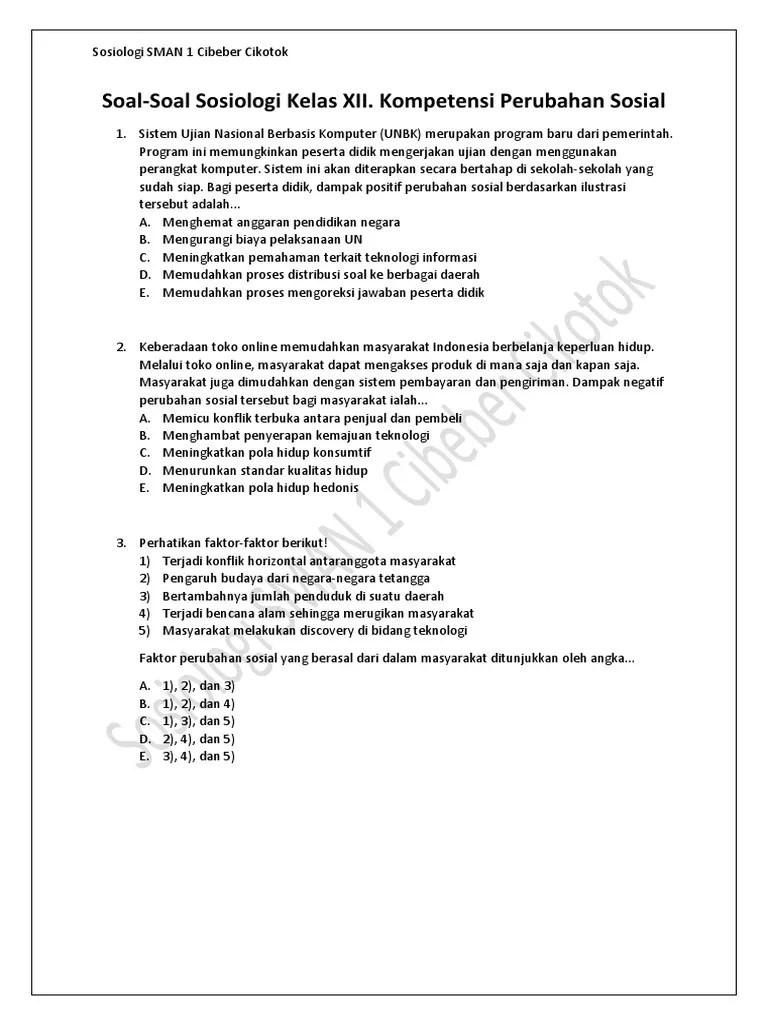 Soal Dan Jawaban Sosiologi Kelas 12 Tentang Perubahan Sosial : jawaban, sosiologi, kelas, tentang, perubahan, sosial, Soal-Soal, Sosiologi, Kelas, Kompetensi, Perubahan, Sosial.pdf