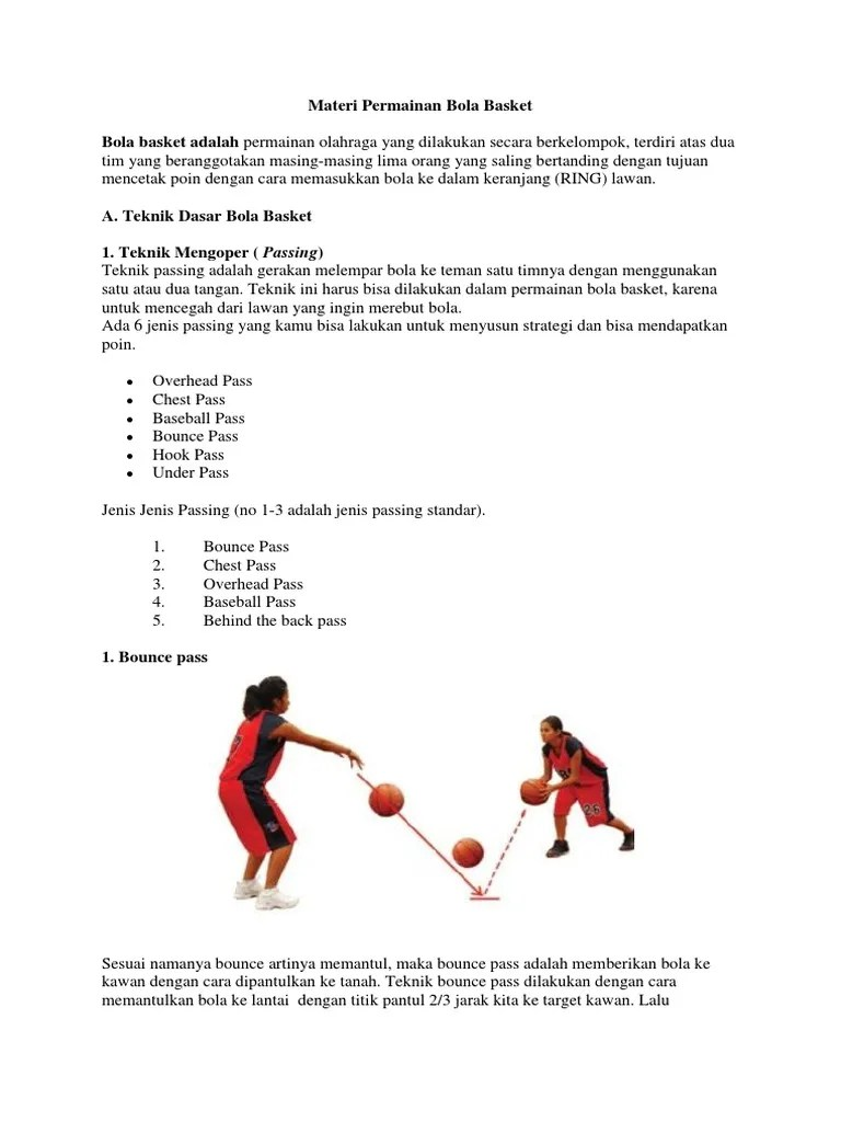 Teknik Passing Dalam Permainan Bola Basket : teknik, passing, dalam, permainan, basket, Materi, Permainan, Basket.docx